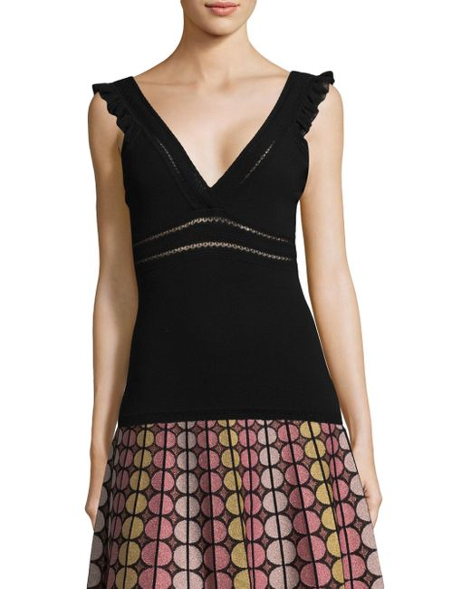 M Missoni - Black Deep V-neck Tank Top - Lyst