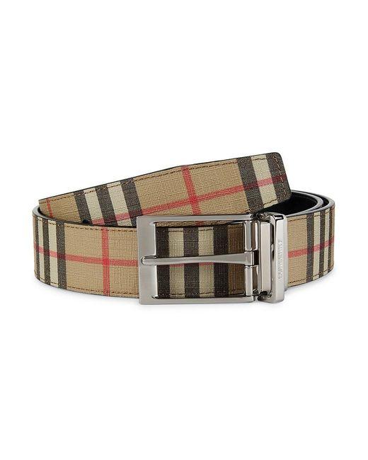 Burberry Black Louis Reversible Vintage Check & Leather Belt for men