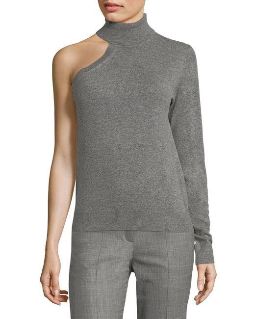Michael Kors | Gray Cashmere One Shoulder Top | Lyst