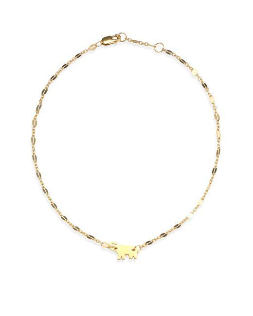 Jennifer Zeuner Metallic Delaney Elephant 18k Yellow Gold Vermeil Anklet