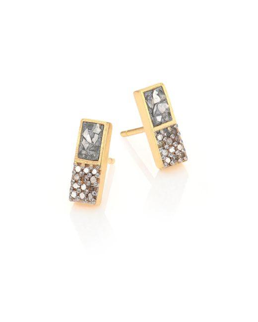 Shana Gulati - Metallic Banjara Alwar Sliced Raw & Champagne Diamond Stud Earrings - Lyst