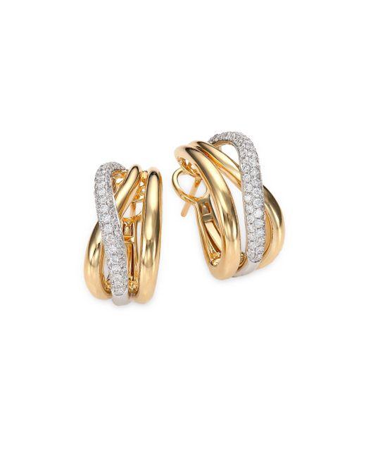 Roberto Coin - Metallic Diamond, 18k White & Yellow Gold Crossover J-hoop Earrings - Lyst