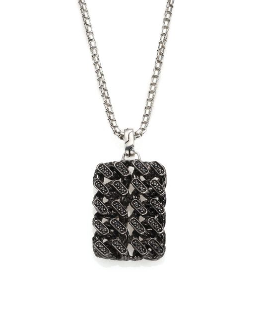John Hardy   Metallic Gourmette Lava Sterling Silver & Black Ruthenium Pendant With Black Sapphires for Men   Lyst