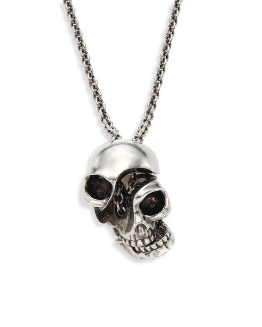 Alexander McQueen - Metallic Men's Silvertone Brass Skull Pendant Necklace - Antique Silver for Men - Lyst