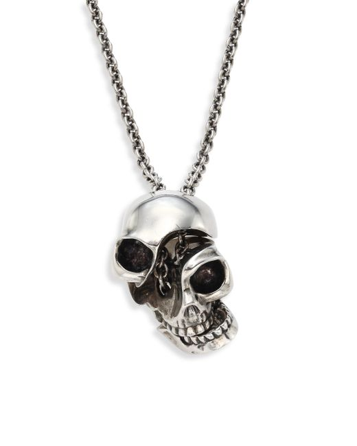 Alexander McQueen - Metallic Silvertone Brass Skull Pendant Necklace - Lyst