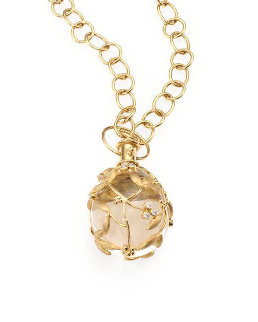Temple St. Clair | Metallic Tree Of Life Rock Crystal, Diamond & 18k Yellow Gold Large Vine Amulet | Lyst