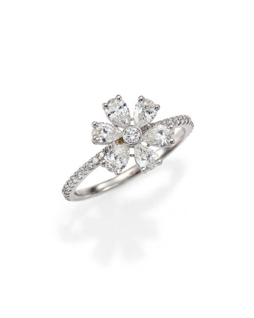 Kwiat   Elements Diamond & 18k White Gold Flower Ring   Lyst