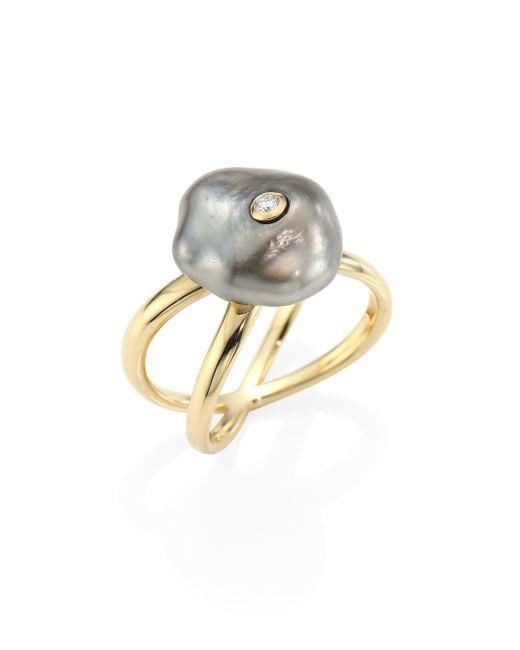 Mizuki - Metallic Diamond, 10mm Grey Baroque Tahitian Pearl & 14k Yellow Gold Crossover Ring - Lyst