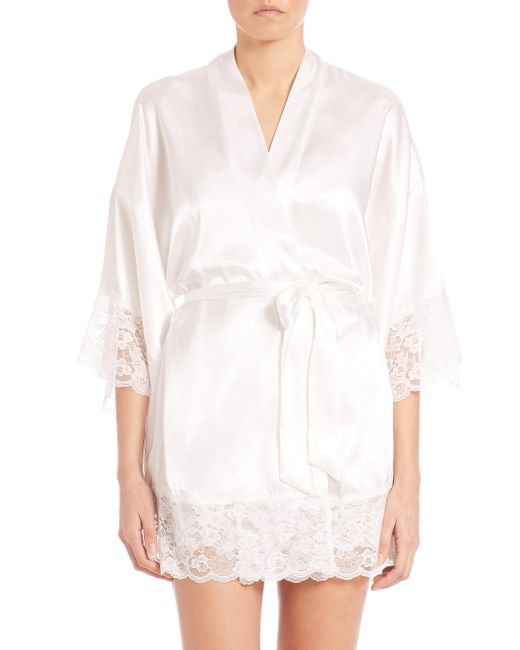 Lyst in bloom the bride satin lace wrapper robe in white for Saks 5th avenue robes de mariage