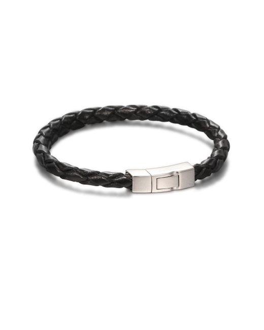 Tateossian | Black Scoubidou Braided Leather Bracelet | Lyst