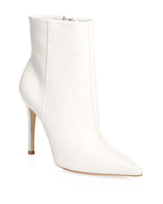 Schutz - White Aide Leather Stiletto Booties - Lyst