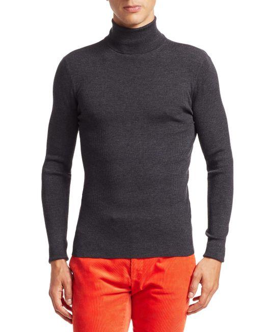 ab5fdb39bcf18 Ralph Lauren Purple Label - Gray Rlx Wool Ribbed Knit Turtleneck for Men -  Lyst