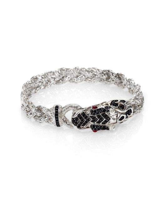 John Hardy - Metallic Naga Black Sapphire & Sterling Silver Dragon Braided Bracelet - Lyst