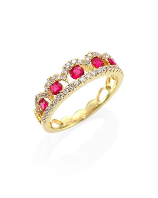 Meira T | Metallic Diamond, Ruby & 14k Yellow Gold Ring | Lyst