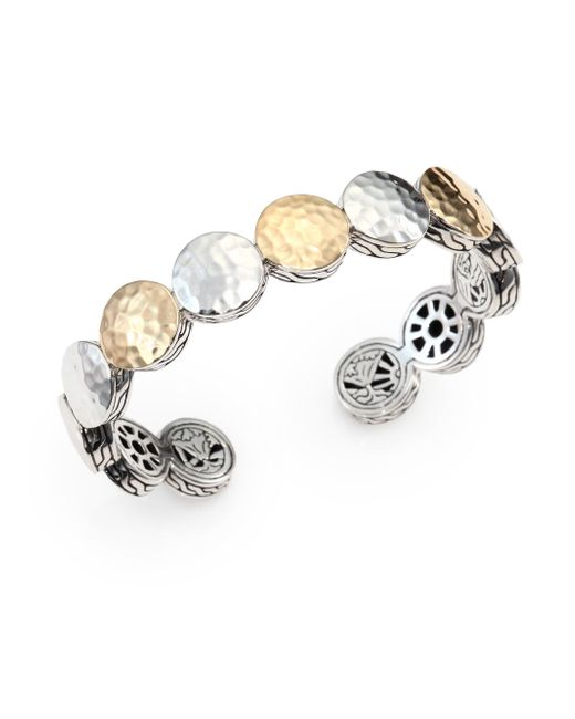 John Hardy - Metallic Palu 18k Yellow Gold & Sterling Silver Dot Cuff Bracelet - Lyst