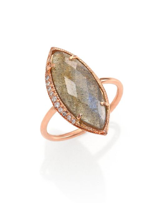 Jacquie Aiche - Pink Labradorite, Diamond & 14k Rose Gold Marquis Ring - Lyst