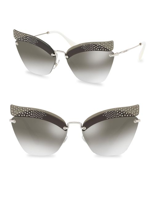 Miu Miu - Gray 63mm Mirrored Sunglasses - Lyst