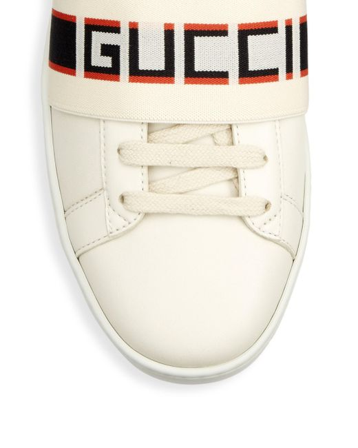 0ec0e32f8e5 ... Gucci - White Stripe Leather Sneaker for Men - Lyst ...