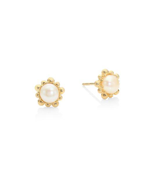 Anzie | Metallic Dew Drop 5mm White Pearl Stud Earrings | Lyst