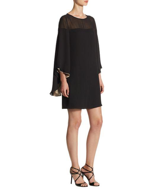 Halston Heritage - Black Butterfly Sleeved Shift Dress - Lyst