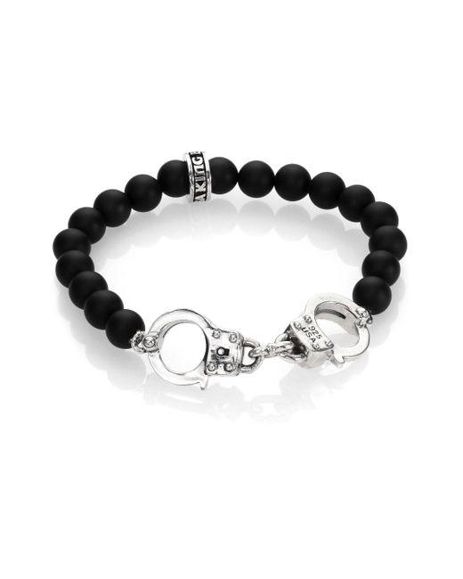 King Baby Studio - Metallic Onyx Beaded Handcuff Bracelet for Men - Lyst