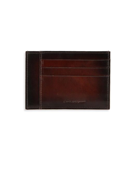 Saks Fifth Avenue | Brown Burnished Leather Card Case for Men | Lyst