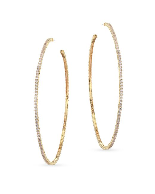 Fallon - Metallic Armure Pave Hoop Earrings - Lyst