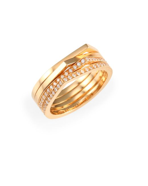 Repossi - Metallic Antifer Diamond & 18k Rose Gold Four-row Ring - Lyst