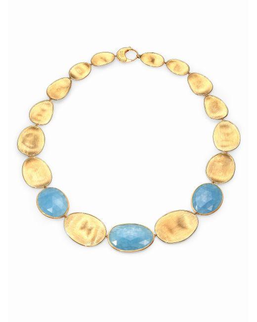 Marco Bicego | Metallic Lunaria Aquamarine & 18k Yellow Gold Medium Collar Necklace | Lyst