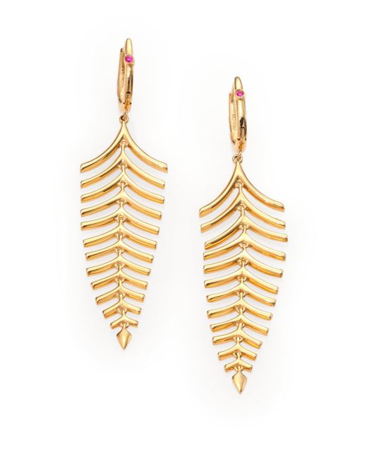 Roberto Coin | Metallic 18k Yellow Gold Fishbone Drop Earrings | Lyst