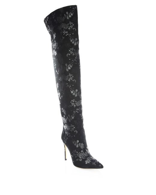 Gianvito Rossi - Black Floral Print Over-the-knee Boots - Lyst