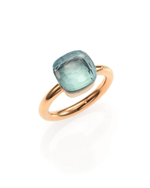 Pomellato - Nudo Blue Topaz & 18k Rose Gold Ring - Lyst