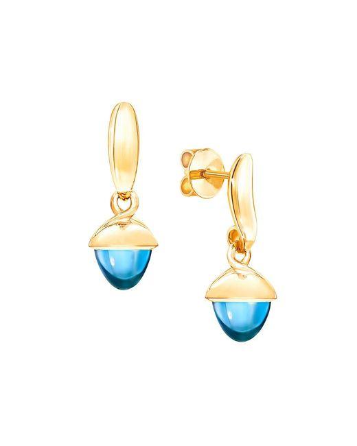 Tamara Comolli Metallic Mikado Flamenco 18k Yellow Gold & Swiss Blue Topaz Acorn Earrings