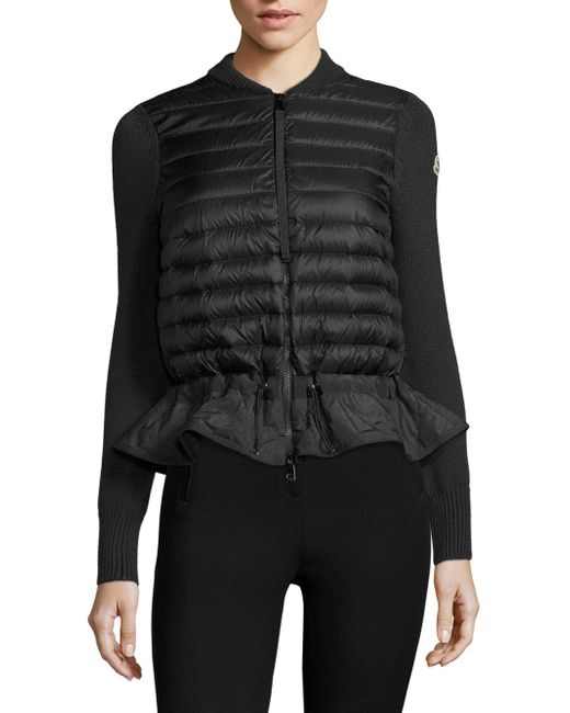 Moncler - Black Maglione Knit Peplum Jacket - Lyst