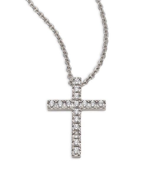 De Beers - Metallic Classic Diamond & 18k White Gold Cross Pendant Necklace - Lyst