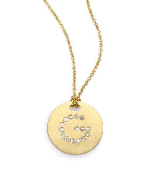 Roberto Coin - Metallic Women's Tiny Treasures Diamond & 18k Yellow Gold Initial Pendant Necklace - Initial H - Lyst