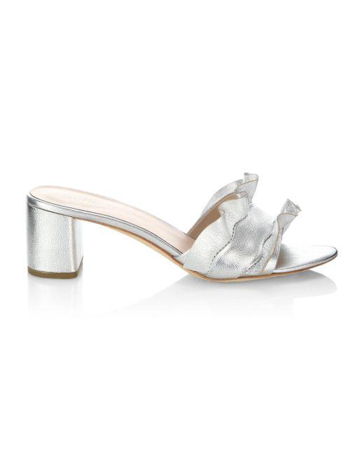 1d5dccefdee Loeffler Randall - Vera Ruffle Metallic Leather Slide Sandals - Lyst ...