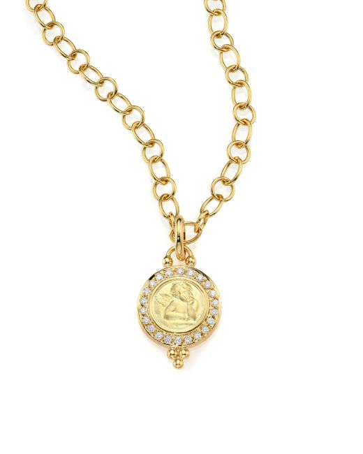 Temple St. Clair - Metallic Angels Pave Diamond & 18k Yellow Gold Pendant - Lyst