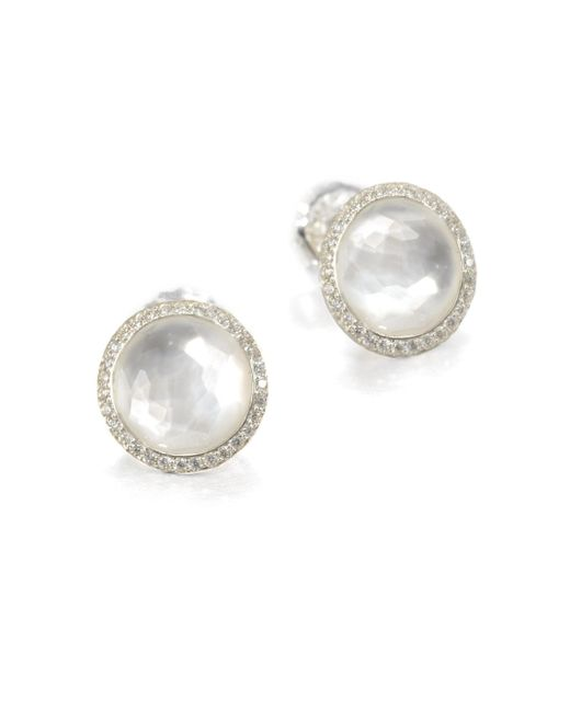Ippolita | Metallic Stella Mother-of-pearl, Clear Quartz, Diamond & Sterling Silver Doublet Stud Earrings | Lyst