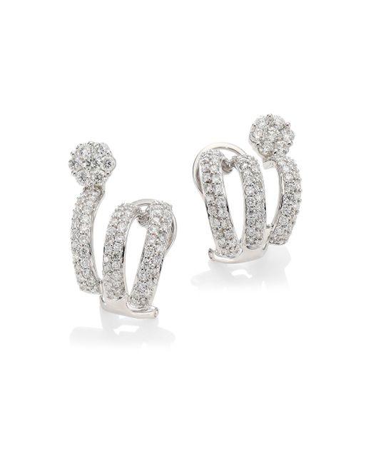 Hueb Metallic Diamond Flower 18k White Gold & Diamond Cuff Earrings