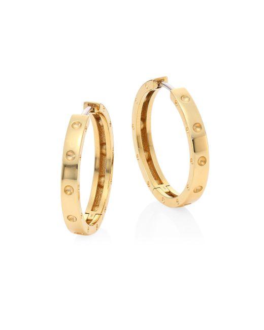 Roberto Coin - Metallic Symphony 18k Yellow Gold Hoop Earrings/0.75 - Lyst