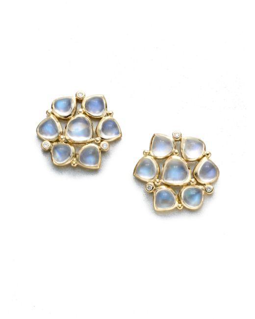 Temple St. Clair | Royal Blue Moonstone, Diamond & 18k Yellow Gold Cluster Earrings | Lyst
