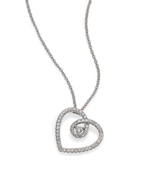 De Beers | Metallic Classic Diamond & 18k White Gold Heart Pendant Necklace | Lyst