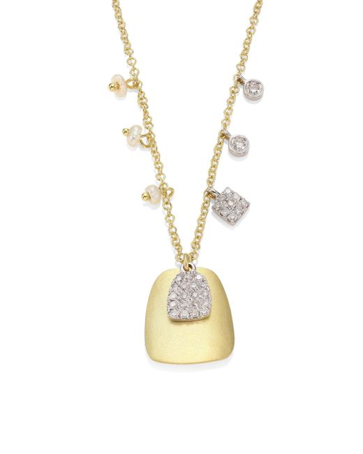Meira T - Metallic Diamond, 2.3-2.4mm White Freshwater Pearl & 14k Yellow Gold Pendant Necklace - Lyst