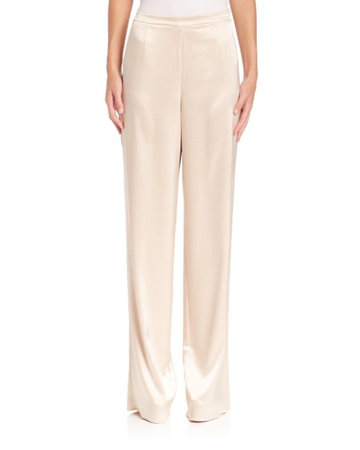 St. John | Pink Caviar Collection Liquid Satin Pants | Lyst