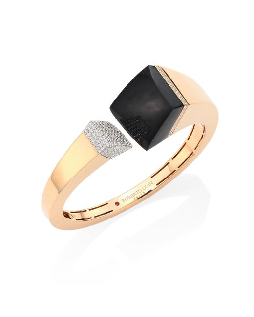Roberto Coin - Metallic Prive Pave Diamond, Black Jade & 18k Rose Gold Bangle - Lyst