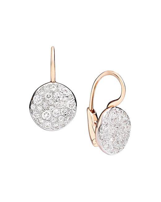 Pomellato Pink Sabbia Diamond & 18k Rose Gold Drop Earrings