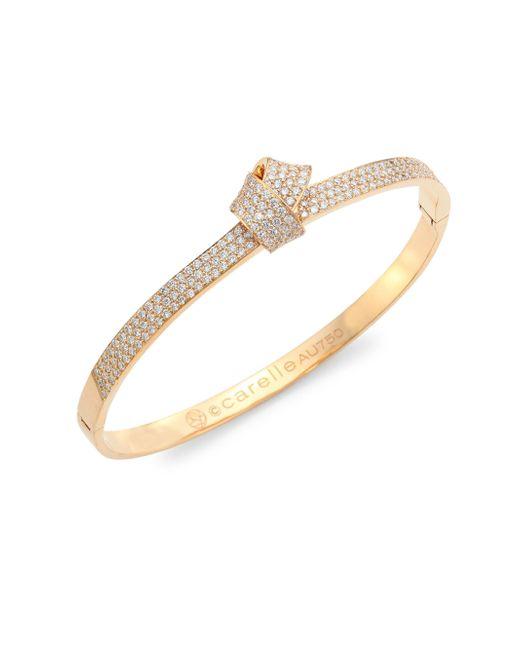 Carelle - Metallic Knot Diamond & 18k Rose Gold Bangle - Lyst