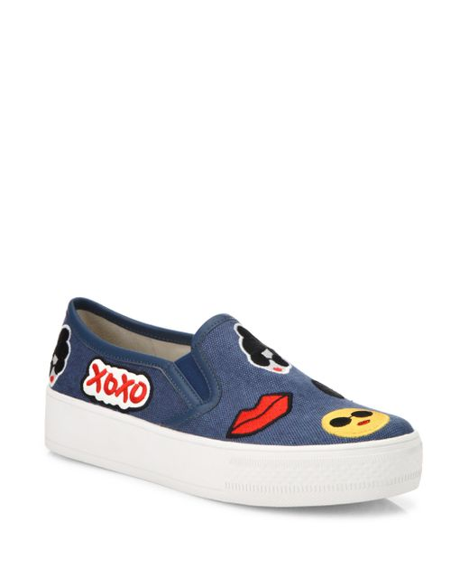 Alice + Olivia | Blue Pia Emoji Slip-on Sneakers | Lyst