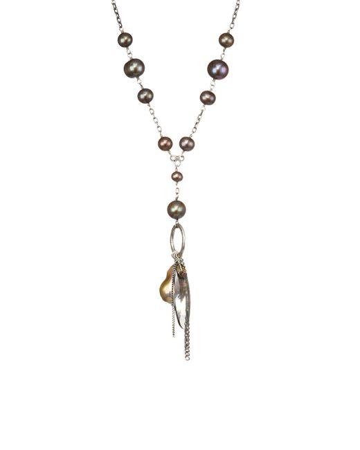 Chan Luu - Metallic Crystal Satin Swarovski Crystal, 6mm-14mm Dark Champagne Pearl & Sterling Silver Necklace - Lyst